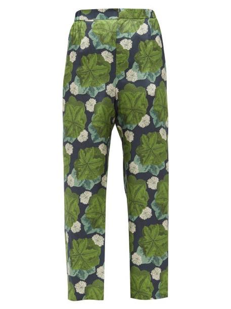 Biyan - Floral-print Silk-twill Trousers - Womens - Green Multi
