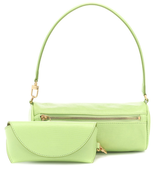Staud Suzy embossed leather tote in green