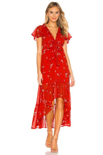 Line & Dot Pradera Midi Dress in red