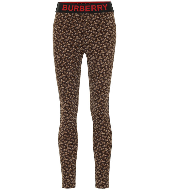 Burberry Monogram stretch-jersey leggings in brown