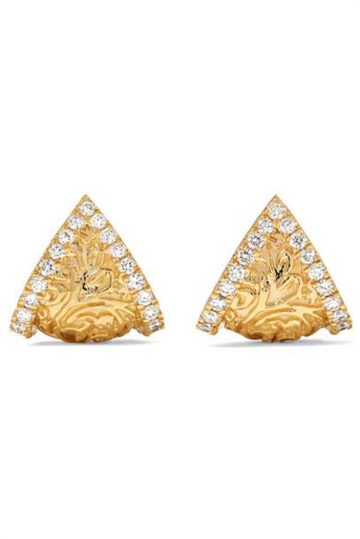 Larkspur & Hawk - Emily's Garden Arbor Shield 14-karat Gold Diamond Earrings