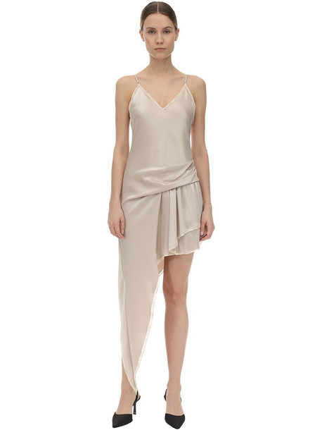 ALEXANDER WANG Asymmetric Satin Dress W/ Lace Trim in beige
