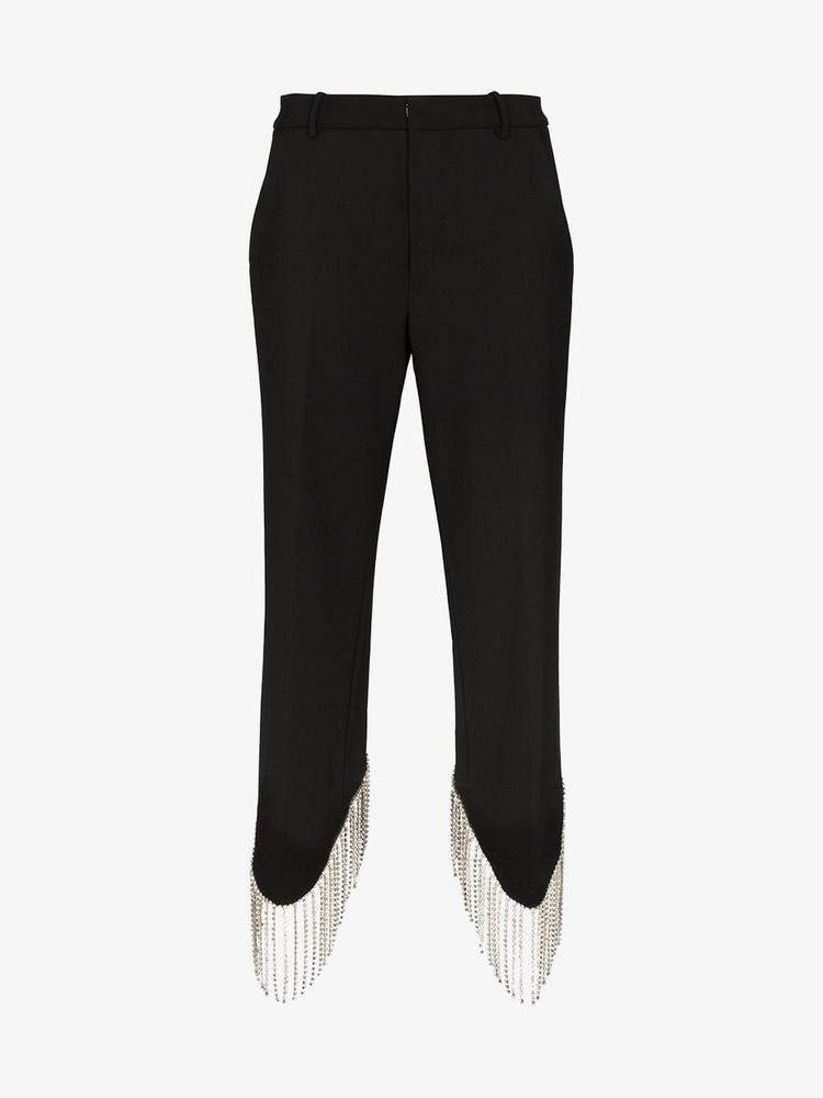 AREA high-waist embellished trousers in black