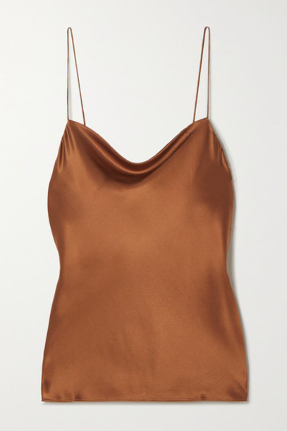 Cami NYC - The Axel Draped Stretch-silk Charmeuse Camisole - Brown