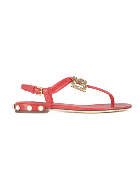 Dolce & Gabbana Logo Flip Flops With Pearl Details On The Heel/infradito Calf Leather in red
