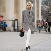 jeans,straight jeans,white jeans,plaid,blazer,black and white,black bag,handbag,black boots