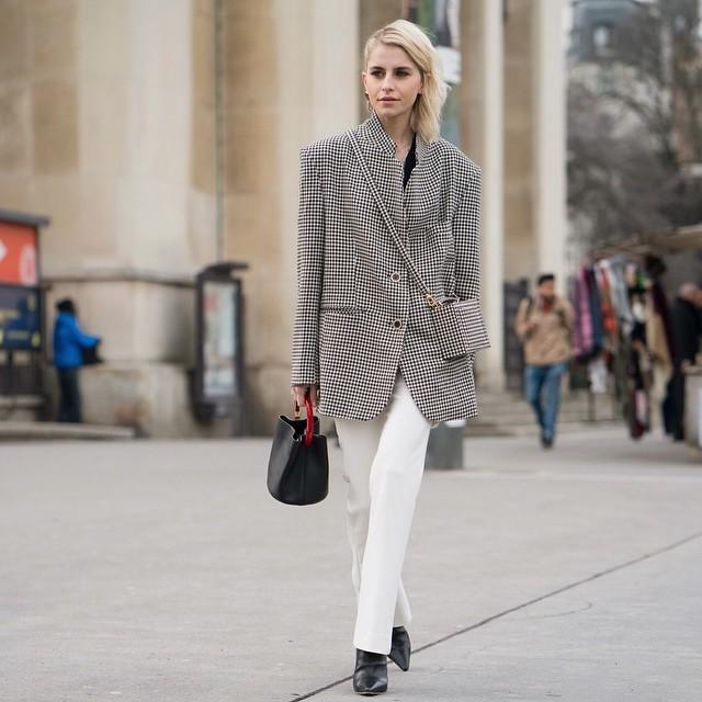 jeans straight jeans white jeans plaid blazer black and white black bag handbag black boots