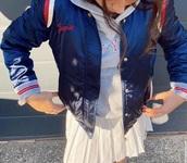 jacket,blue bomber jacket