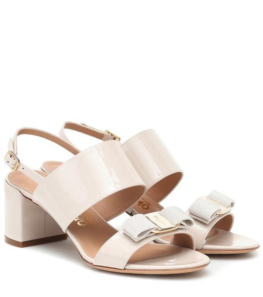 Salvatore Ferragamo Giulia patent-leather sandals in beige