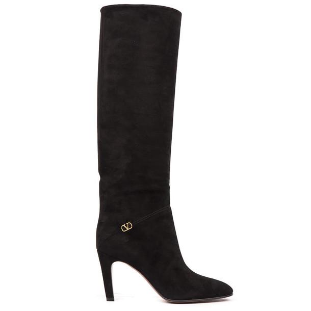 Valentino Garavani Black Suede Leather Boots