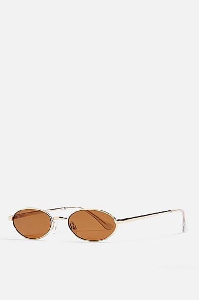 Topshop Slender Metal Gold Sunglasses - Gold