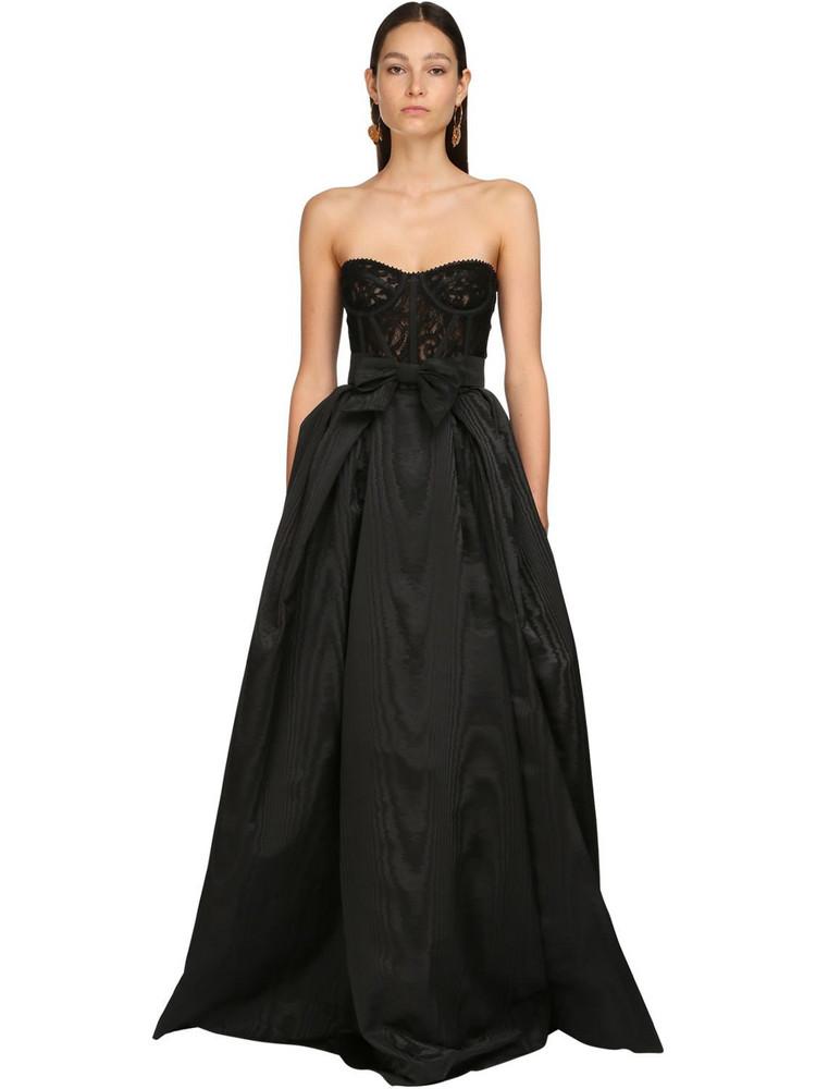 ZUHAIR MURAD Moiré & Lace Long Dress in black