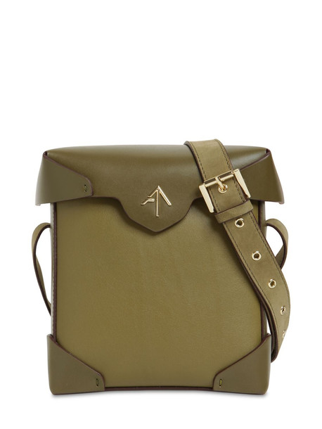 MANU ATELIER Mini Pristine Leather Shoulder Bag in khaki