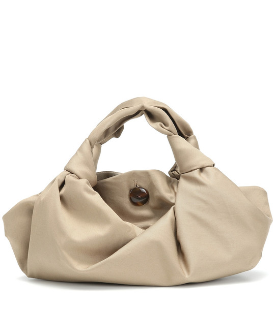 The Row The Ascot twill clutch in beige