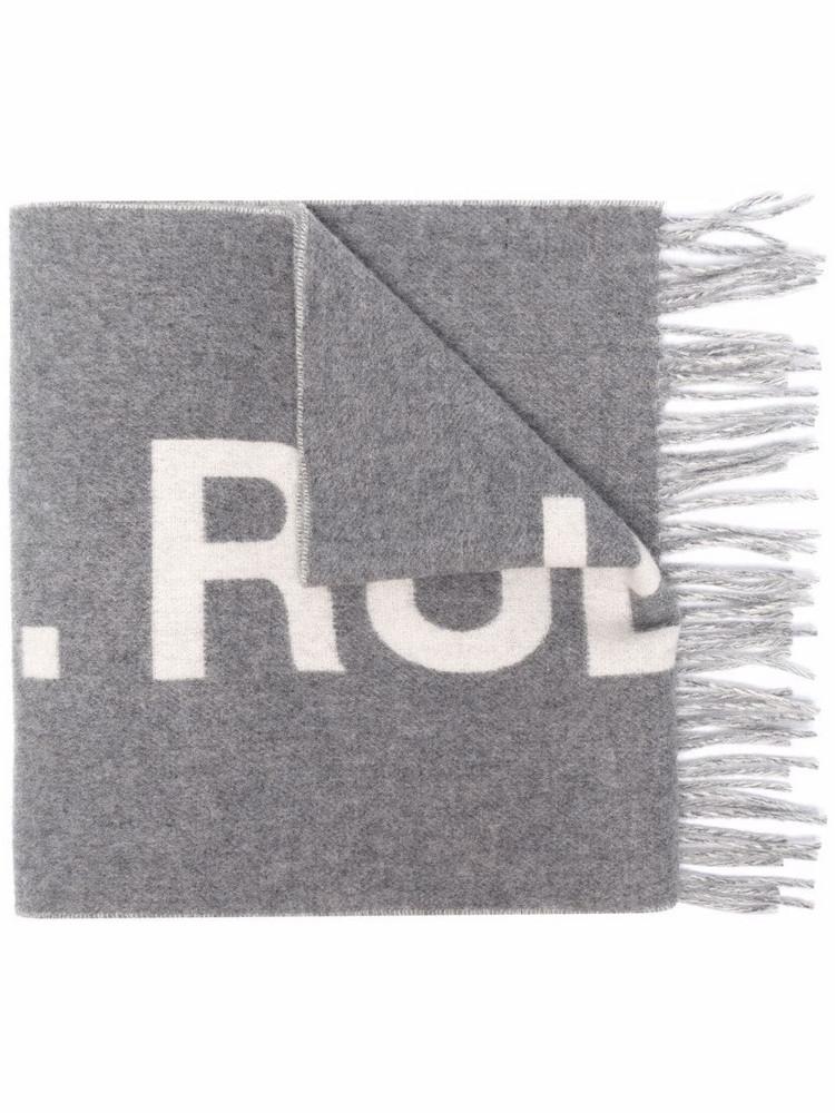 A.P.C. A.P.C. slogan-print wool scarf - Grey