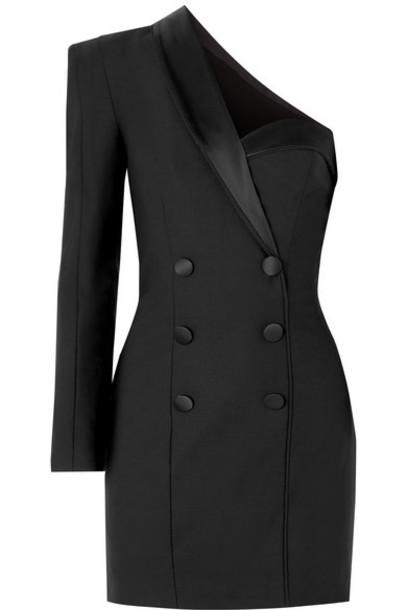 Dundas - Cold-shoulder Satin-trimmed Cady Mini Dress - Black