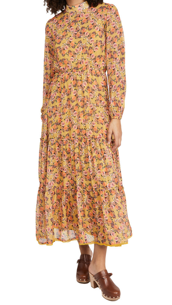 Lost + Wander Lost + Wander Gardens At Giverny Midi Dress in gold / multi