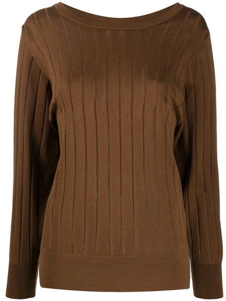Agnona ribbed jumper in brown