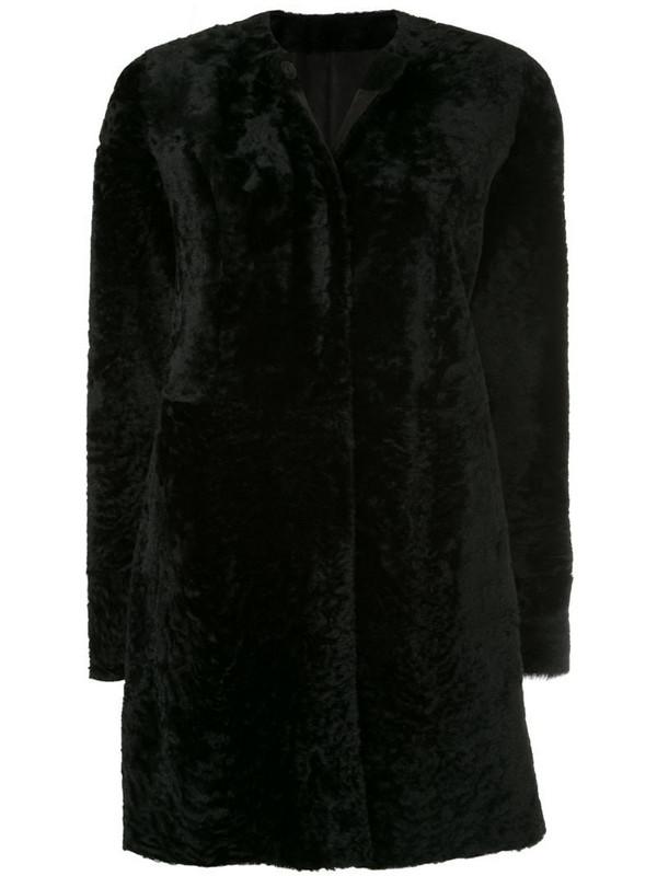 Drome round neck mid-length coat in black