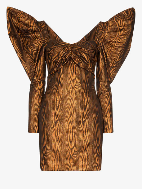 House of Holland midi-dress with volume sleeves in brown