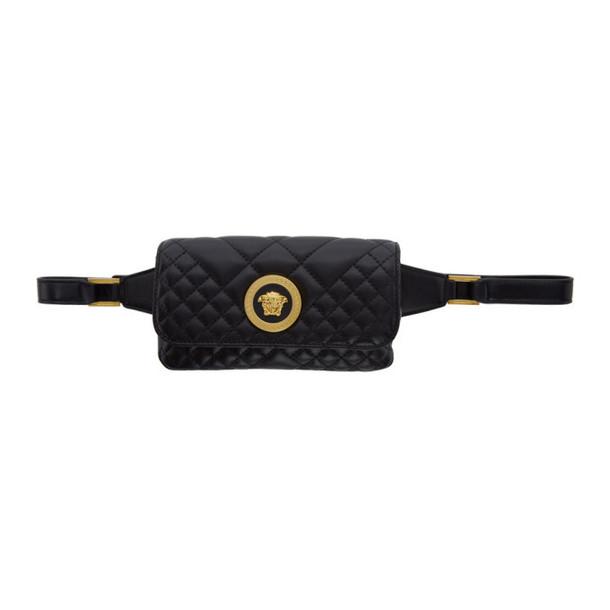 Versace Black Mini Quilted Medusa Icon Bum Bag