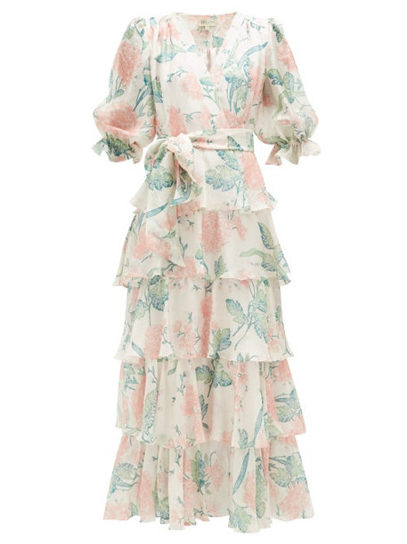 Beulah - Liana Floral-print Ruffle-tiered Silk Dress - Womens - Pink White
