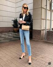 jeans,high waisted jeans,cropped jeans,slingbacks,black leather jacket,white top,crossbody bag