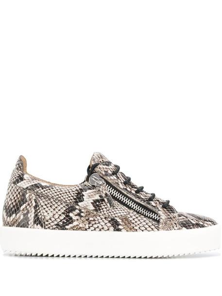 Giuseppe Zanotti snakeskin print sneakers in neutrals