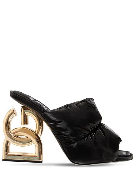 DOLCE & GABBANA 75mm 90's Logo Padded Nylon Mules in black