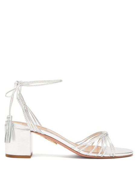 Aquazzura - Mescal 50 Tasselled Leather Sandal - Womens - Silver