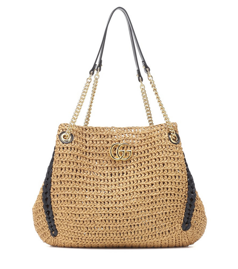 Gucci GG Marmont woven shoulder bag in beige