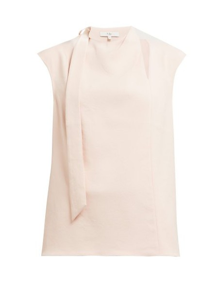 Tibi - Chalky Drape Tie Crepe Top - Womens - Light Pink