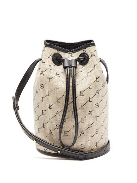 Stella Mccartney - Monogram Faux Leather And Canvas Mini Bucket Bag - Womens - Grey Multi