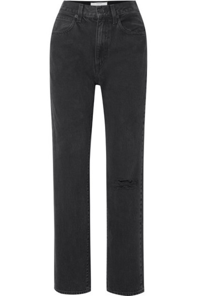 SLVRLAKE - London Distressed High-rise Straight-leg Jeans - Black