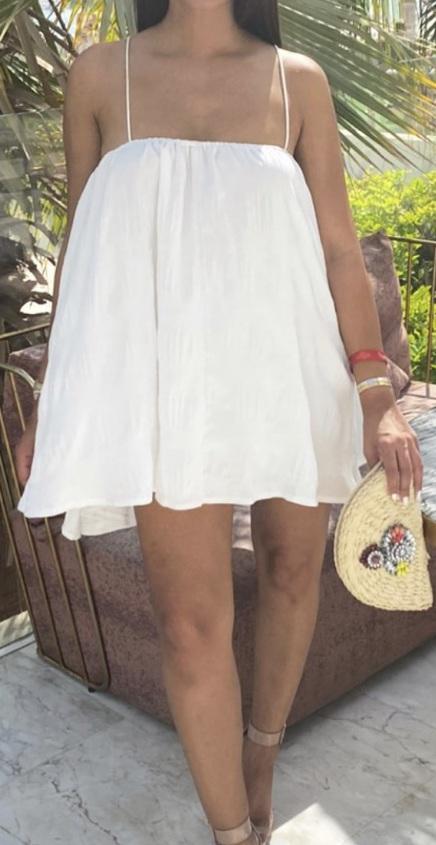 dress white frill puff dress