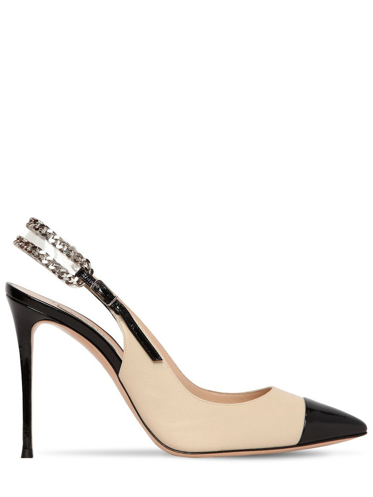 CASADEI 100mm Chained Leather Sling Back Pumps in black / beige