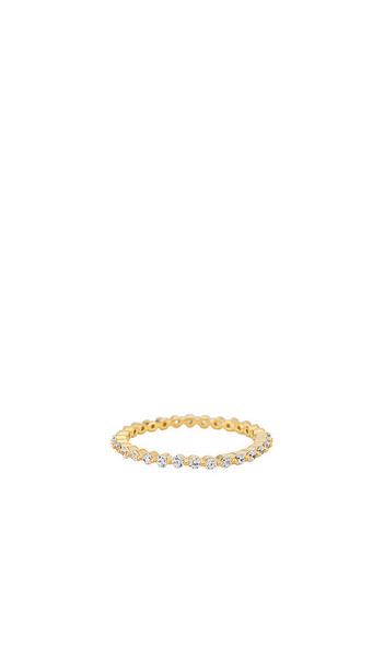 BaubleBar Delicate Stone Ring in Metallic Gold in clear
