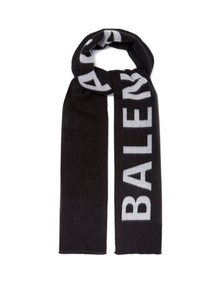 Balenciaga - Logo Jacquard Wool Scarf - Womens - Black