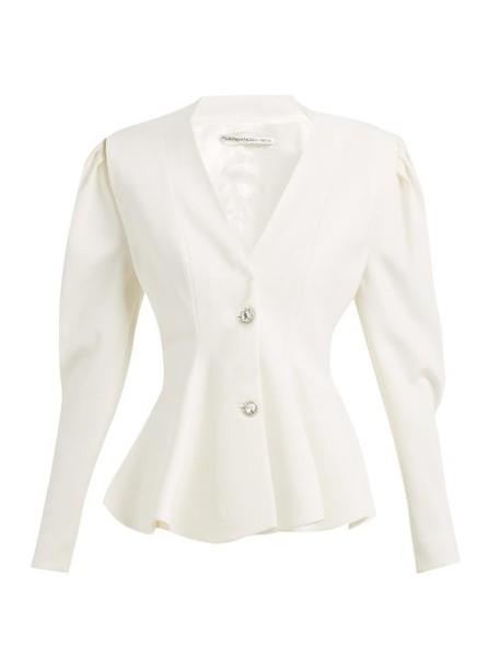 Alessandra Rich - Peplum Crystal Button Wool Blazer - Womens - Ivory