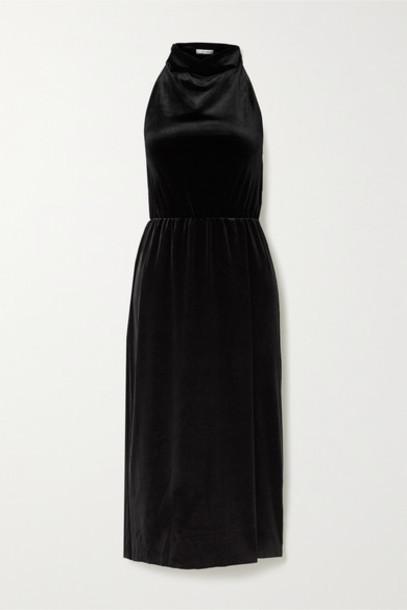 BLOUSE - Siren's Call Velvet Halterneck Midi Dress - Black