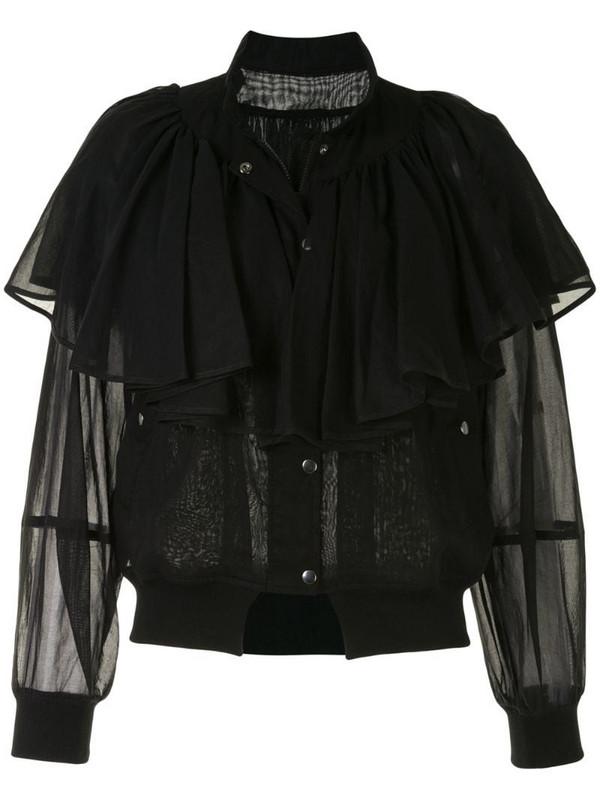 Enföld semi sheer frill jacket in black