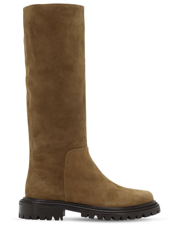 AQUAZZURA 30mm Sky Suede Tall Boots in khaki