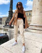 pants,joggers,sneakers,blazer,crop tops,black top