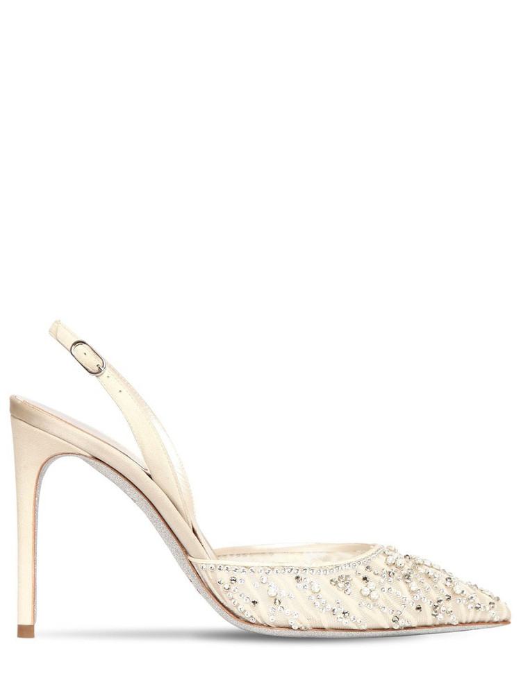 RENÉ CAOVILLA 100mm Embellished Lace Sling Back Pumps in white