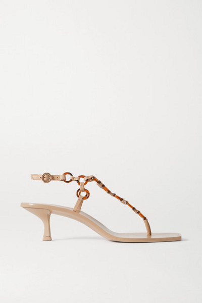 Cult Gaia - Caitlyn Embellished Leather Sandals in sand