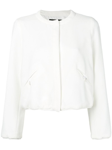Emporio Armani fitted bomber jacket in white