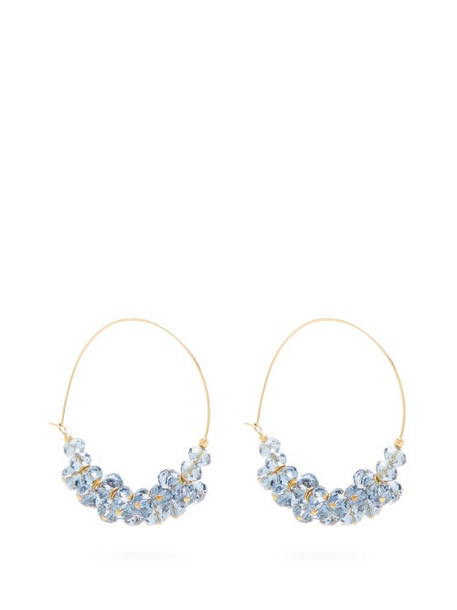 Isabel Marant - Bead Embellished Hoop Earrings - Womens - Blue