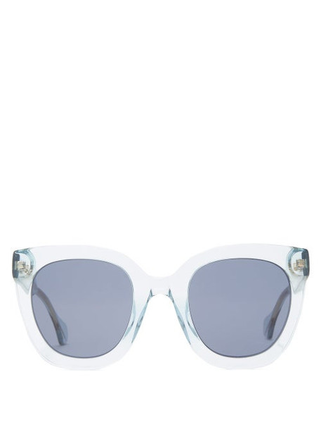 Gucci - Oversized Cat Eye Acetate Sunglasses - Womens - Blue