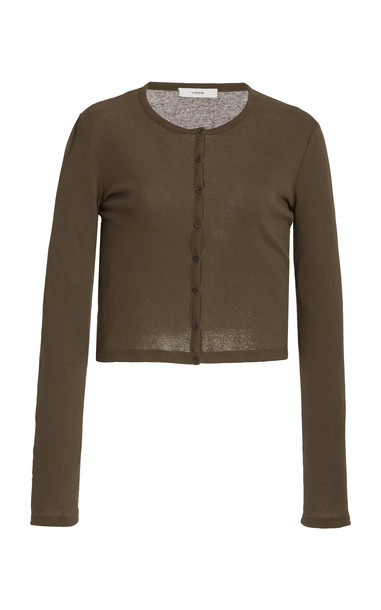 Vince Cotton-Knit Cropped Cardigan in brown