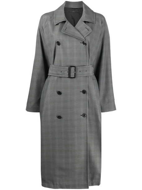 Paul Smith plaid double-breasted coat in grey